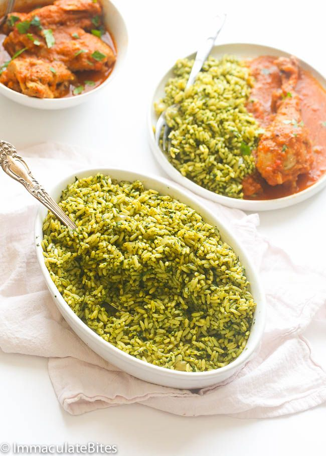 Brown Spinach Rice aka Check Rice- A healthy African way of cooking rice spiced up with cayenne pepper, garlic and paprika. Vegan