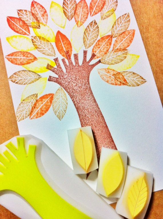 tree hand carved rubber stamp. tree trunk/leaf by talktothesun