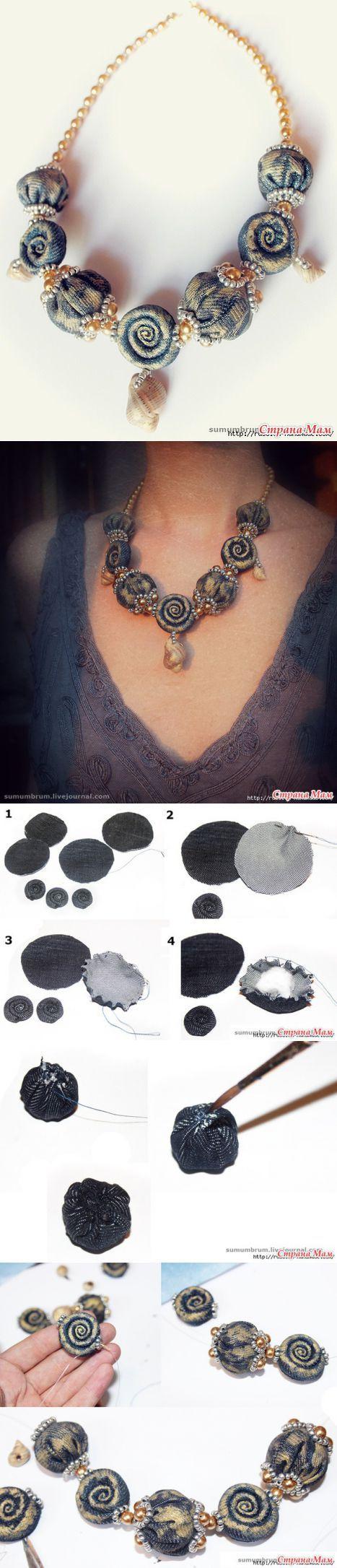 Джинсовое ожерелье из ракушек, бисера и бусин. - Джинсовые чудеса! - Страна Мам