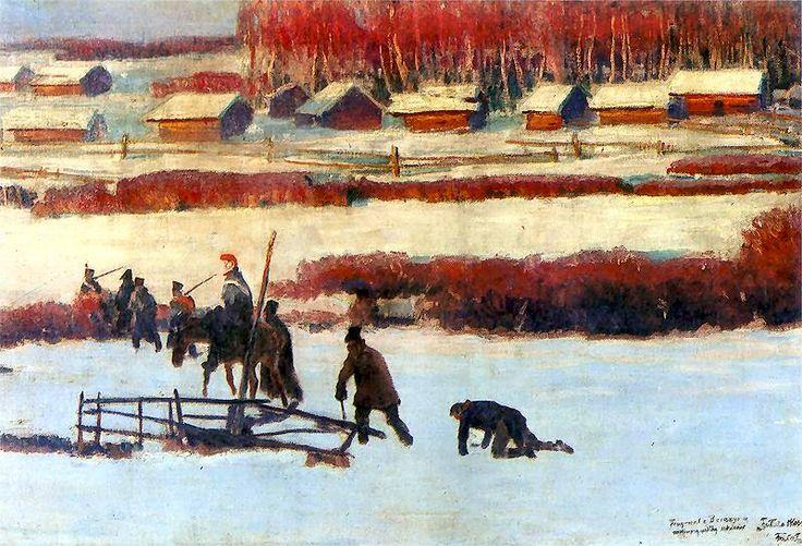 "Julian Fałat - Fragment panoramy ""Berezyna"", 1895"