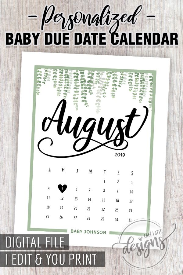AUGUST 2019 Pregnancy Announcement Baby Due Date Printable Calendar Personalized , Custom August