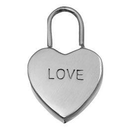 """Pandantiv din argint lacatel inscriptionat """"LOVE"""" pe care il poti personaliza pe verso cu poza si/sau text."""