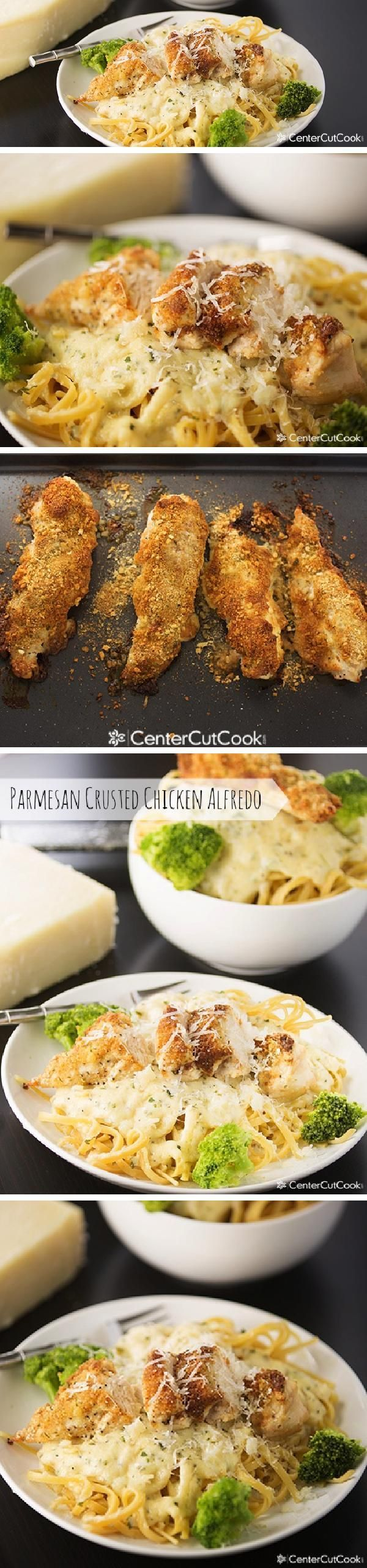 Crispy crunchy PARMESAN CRUSTED CHICKEN ALFREDO is a meal your whole family will love!