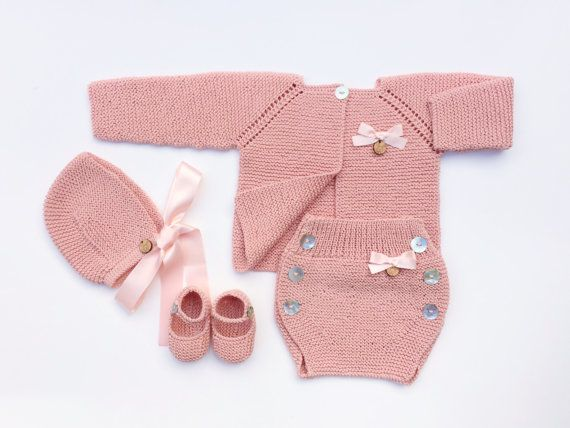 Baby Clothing Set: Cardigan, Diaper Cover, Bonnet And Booties