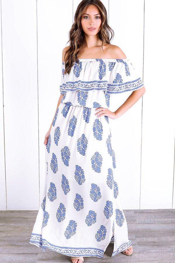 e827e1e575 Light-blue Off Shoulder Flounce Sleeve Ruffles Graphic Printed Chic Maxi  Dress  043467   Casual Dresses