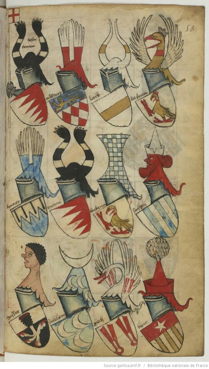 [UPPER LEFTMOST] Gauntlet (and arm?) issuing from behind the escutcheon, holding banner (Argent, a cross gules.) ~A
