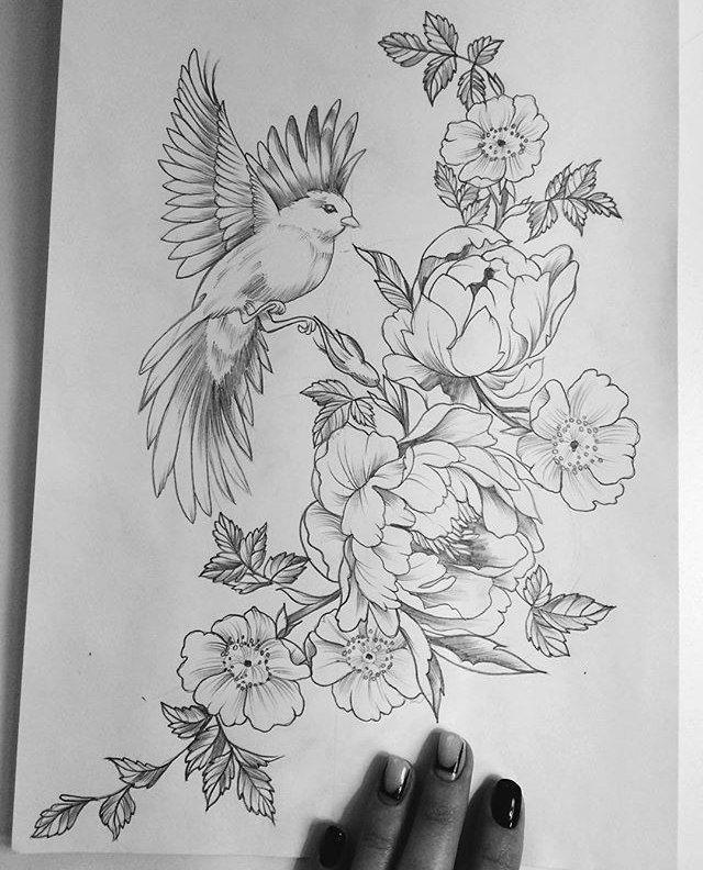 такой птицы на цветах эскиз тату асмус известная