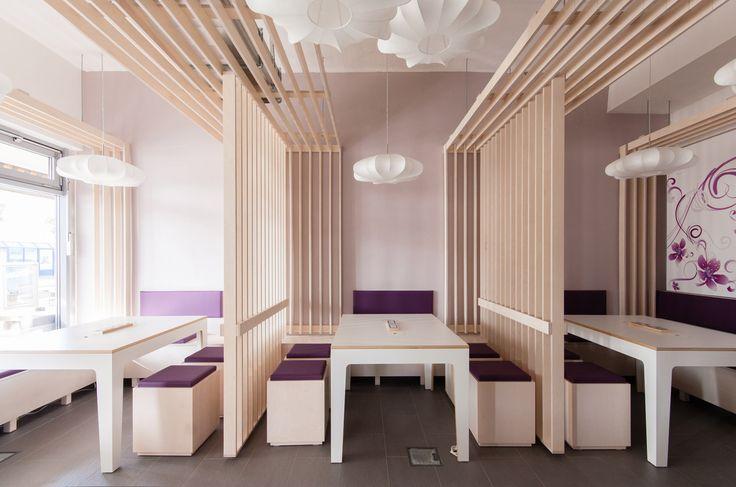 Minimalisy style sushi restaurant interior design muret