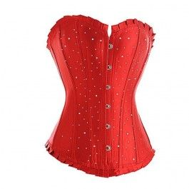 Corset Bustier Glamour Romantique Satin Strass Rouge