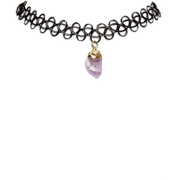 Shalom  Faux Crystal Tattoo Choker ($9.99) ❤ liked on Polyvore featuring jewelry, necklaces, accessories, chokers, black and wet seal