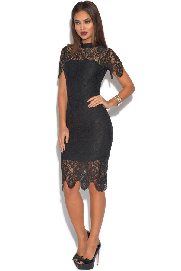 Short Sleeved Luxe Black Lace Dress