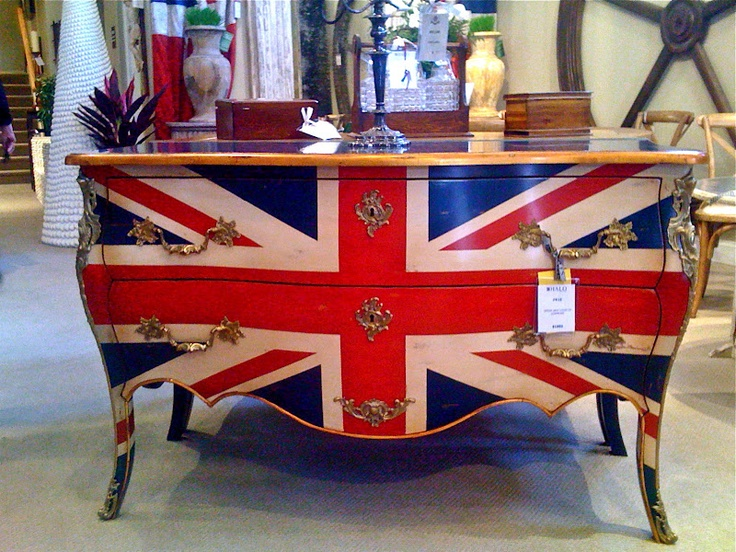 Ornate Union Jack painted dresser.  Love the metallics!  What a great way to bring elegance and high design into a nursery - pair with more modern linens, sharp, graphic artwork, and crisp accessories.
