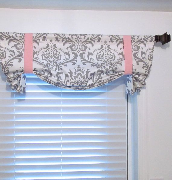 Tie Up Curtain Valance Gray White Damask By Supplierofdreams