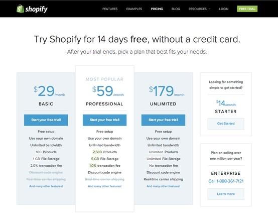 shopify shopify.com/pricing