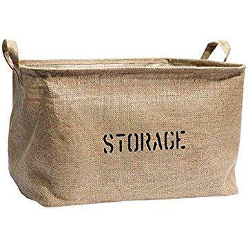 Medium or Large Jute Storage Bin for Toy Storage - Storage Basket for organizing Baby Toys, Kids Toys, Baby Clothing, Children Books, Gift Baskets.
