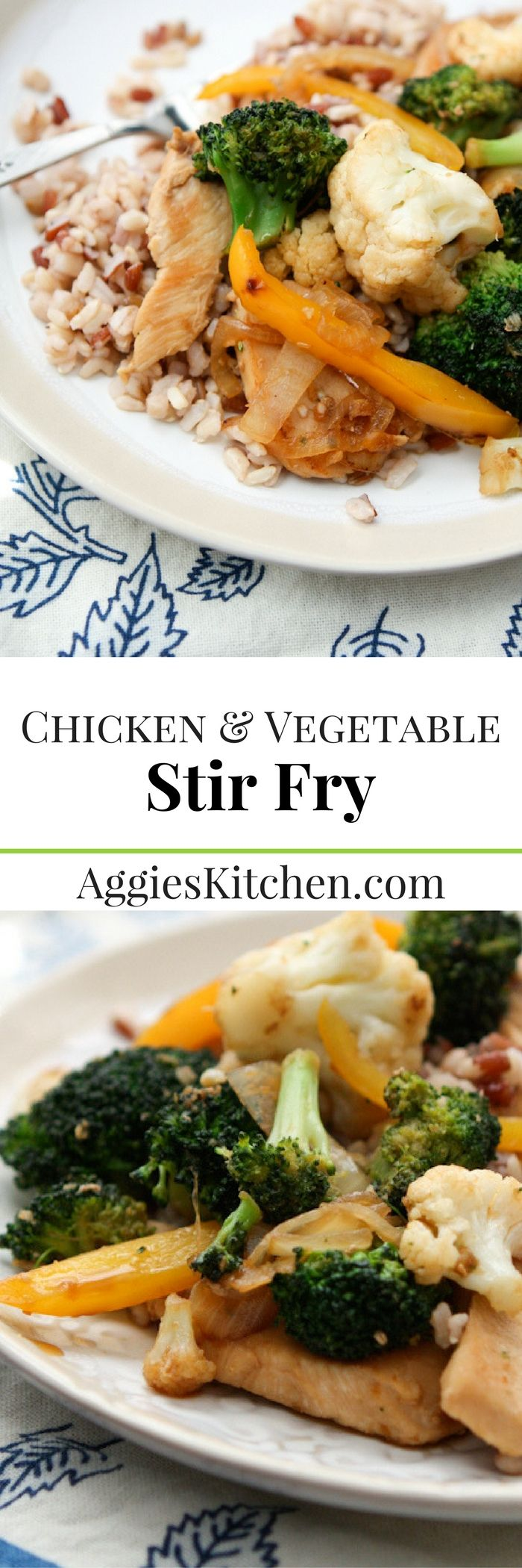 This chicken and vegetable stir fry is a simple healthy option for busy weeknights. Your whole family will love it!