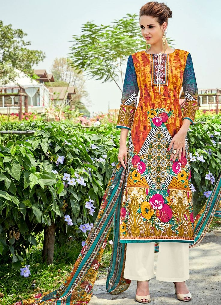 Buy unique collection of anarkali designer salwar suits online in india, usa, uk, canada. Buy this hypnotizing cotton   palazzo suit for casual.