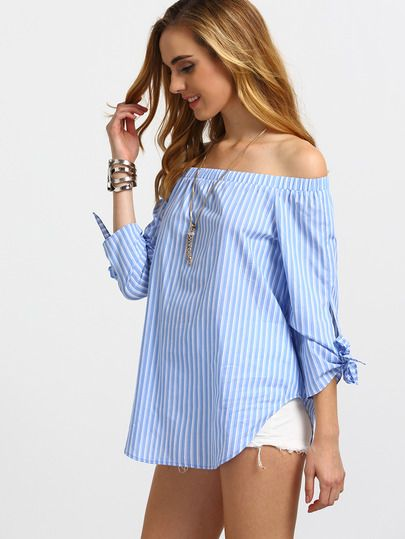 Blue Striped Off The Shoulder Tie Cuff Blouse -SheIn(Sheinside)