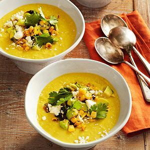 Sweet Corn Soup with Toasted Corn Guacamole From Better Homes and Gardens, ideas and improvement projects for your home and garden plus recipes and entertaining ideas.