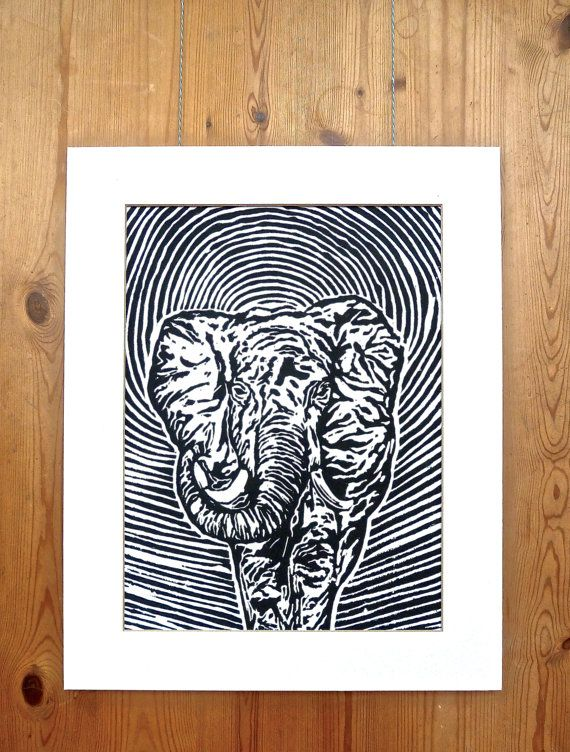 Original Print  The Wondering Elephant by LauraRosePrintmaker