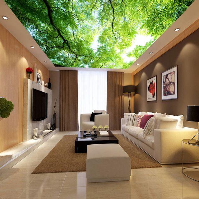 Natural Paisagem Árvores Papel De Parede Personalizado Pintura Mural Da Parede Foto papel de Parede De Seda Verde Art Home decor Quarto adesivos de Parede Teto Do Corredor Verde