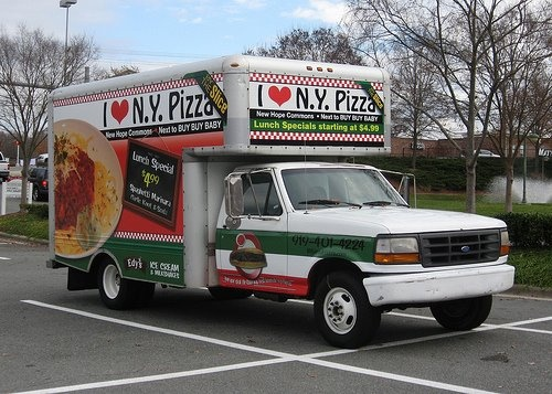 I love NY Pizza truck - This former U-Haul box truck serves as a very appetizing mobile billboard for I <3 NY Pizza in Durham, NC in the New Hope Commons Shopping Center next to Buy Buy Baby.