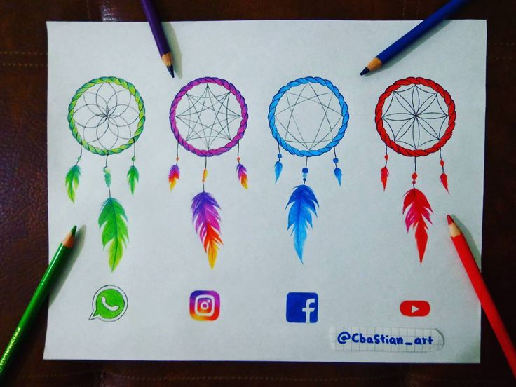 WhatsApp, Instagram, Facebook & YouTube [as dream catchers] (Drawing by CbaStian_Art @Instagram) #SocialMedia