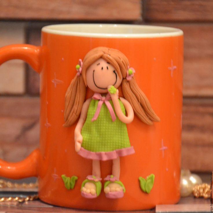 """Купить Кружка с декором из полимерной глины """"Шатенка"""" - рыжий, кружка в подарок, кружка для чая"""
