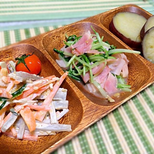 今日の副菜♡٩(๑♥ڡ♥๑)۶ - 106件のもぐもぐ - ♡ごぼうサラダ・水菜のニンニク炒め・さつまいもの煮物♡ by omomom