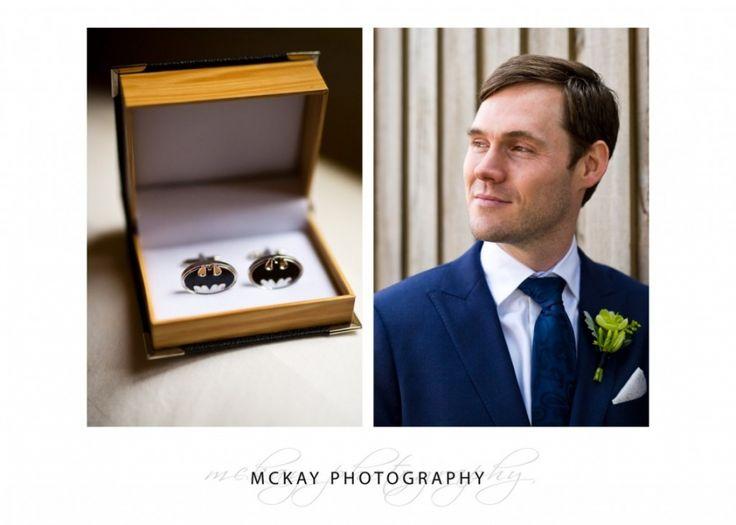Ed - love the batman cufflinks :)   www.mckayphotography.com.au  #mckayphotography #groom #batman #gunnersbarracks #sydney #wedding