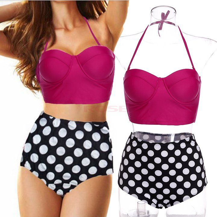 2015 Vintage High Waist Swimsuit Bikini Polk Dot Print Push Up Padded Bikini Set Plus Size Swimwear Women Biquini Retro Bikini-in Bikinis Set from Women's Clothing & Accessories on Aliexpress.com | Alibaba Group