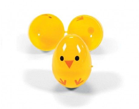 Yellow Chick Two Part Fillable Plastic Easter Eggs For Egg Hunts