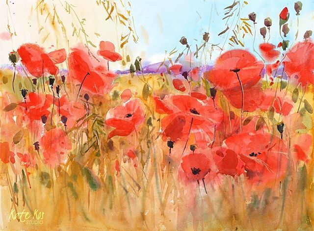Day 5 Every evening this week I'm posting a floral painting. Tonight - Poppies! 'A Rich Harvest' watercolour and coloured pencil 57x42cm #mothersday #affordableart #painting #poppies
