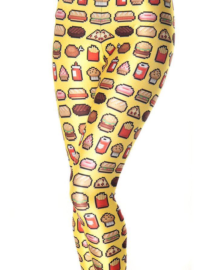 Junk Food Yellow Leggings Women's Fashion Leggings Soft Plus Size Stretch Pants 3481
