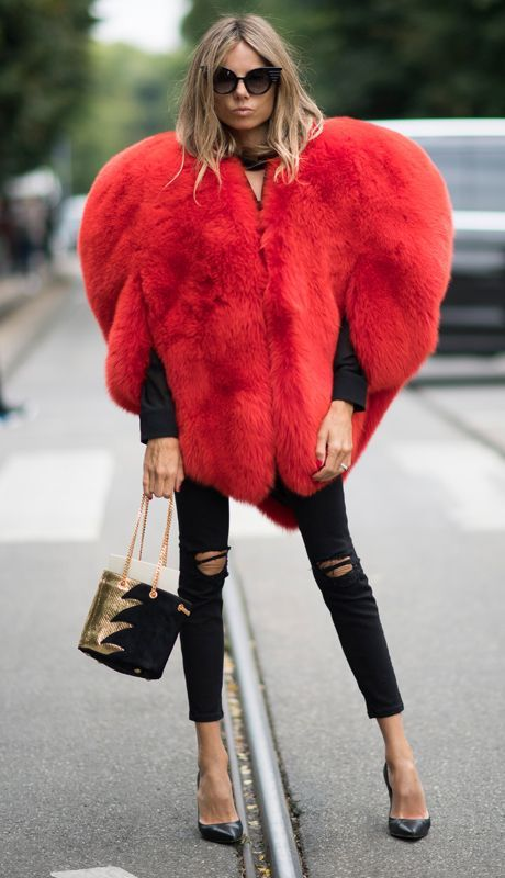 red heart shaped fur coat