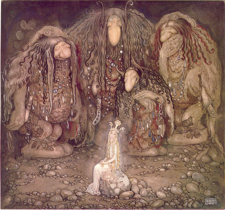 Illustration of Walter Stenström's The boy and the trolls or The Adventure in childrens' anthology Among pixies and trolls, a collection of childrens' stories, 1915.  John Bauer