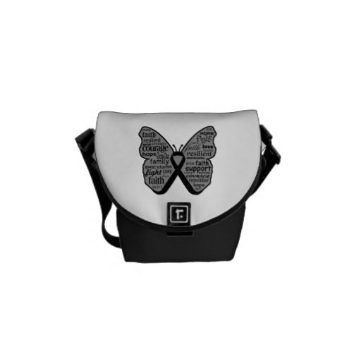 Melanoma Butterfly Collage of Words Messenger Bag