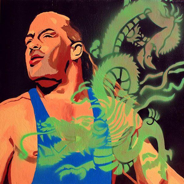 """Rob Van Dam l Acrylic and spray on 24"""" x 24"""" wood"""