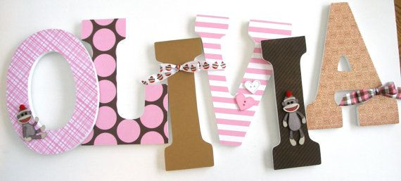 Wooden Wall Nursery Letters for Girls Pink and Brown by LetterLuxe