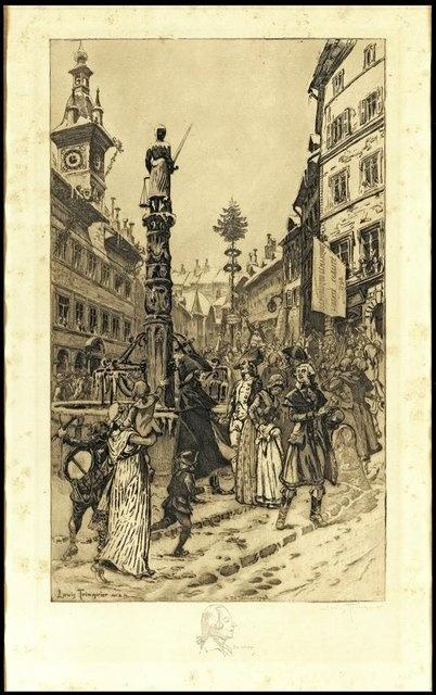 La foule en liesse fête l'Indépendance vaudoise sur la place de la Palud à Lausanne. Eau-forte de Louis Isaac Trinquier.