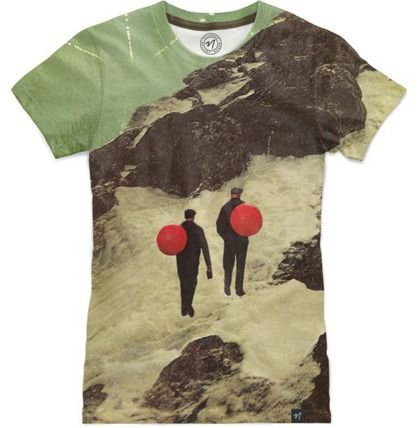 'you'd planned to move with a kind of largeness' - all-over print tshirt at Nuvango, collage art by livingferal