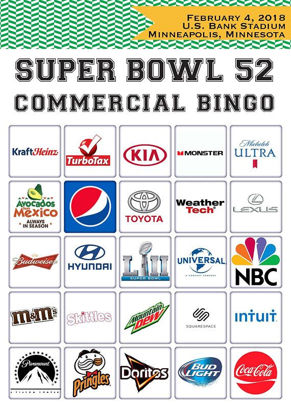 Want more games? This listing is part of a set: https://www.etsy.com/listing/266333821 // Super Bowl Commercial Bingo includes 50 different/unique bingo cards for Super Bowl 52. Our bingo game covers the top advertisers in Sundays game. // If you are throwing a Super Bowl Party (or