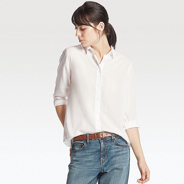 c2c0d294dc8 WOMEN RAYON LONG SLEEVE BLOUSE, WHITE, large | get on my body | White short  sleeve blouse, Sleeves