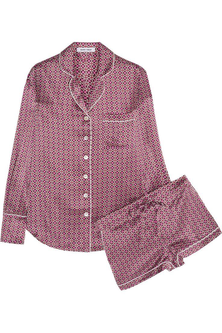 Olivia von Halle|Alba Natalia printed silk-satin pajama set |NET-A-PORTER.COM