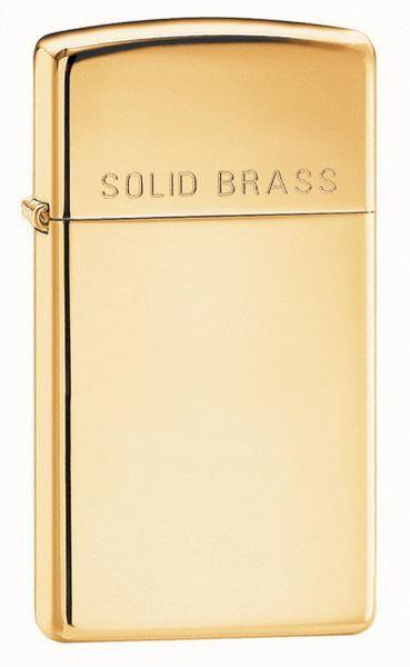 Lighters - Zippo Slim Solid Brass Engraved Lighter - Oxemize.com