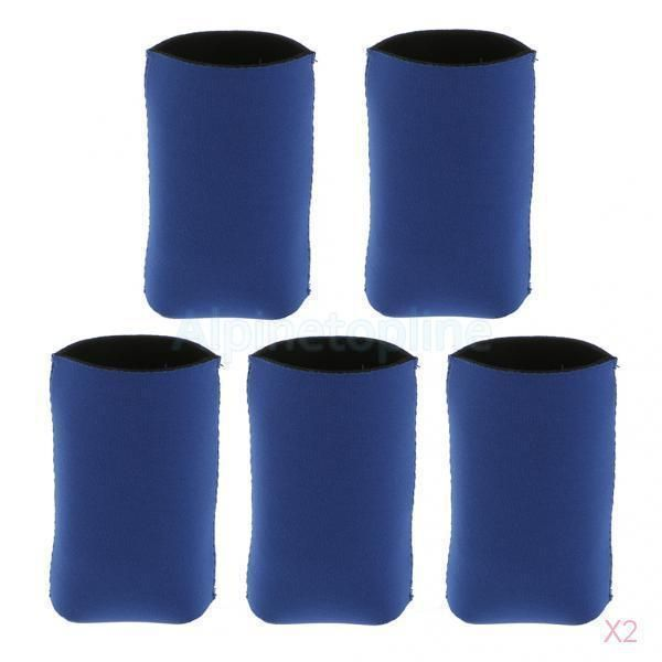 2X Soda Cooling Beer Drinks Bottle Tin Can Cooler Neoprene Sleeve Holder Blue