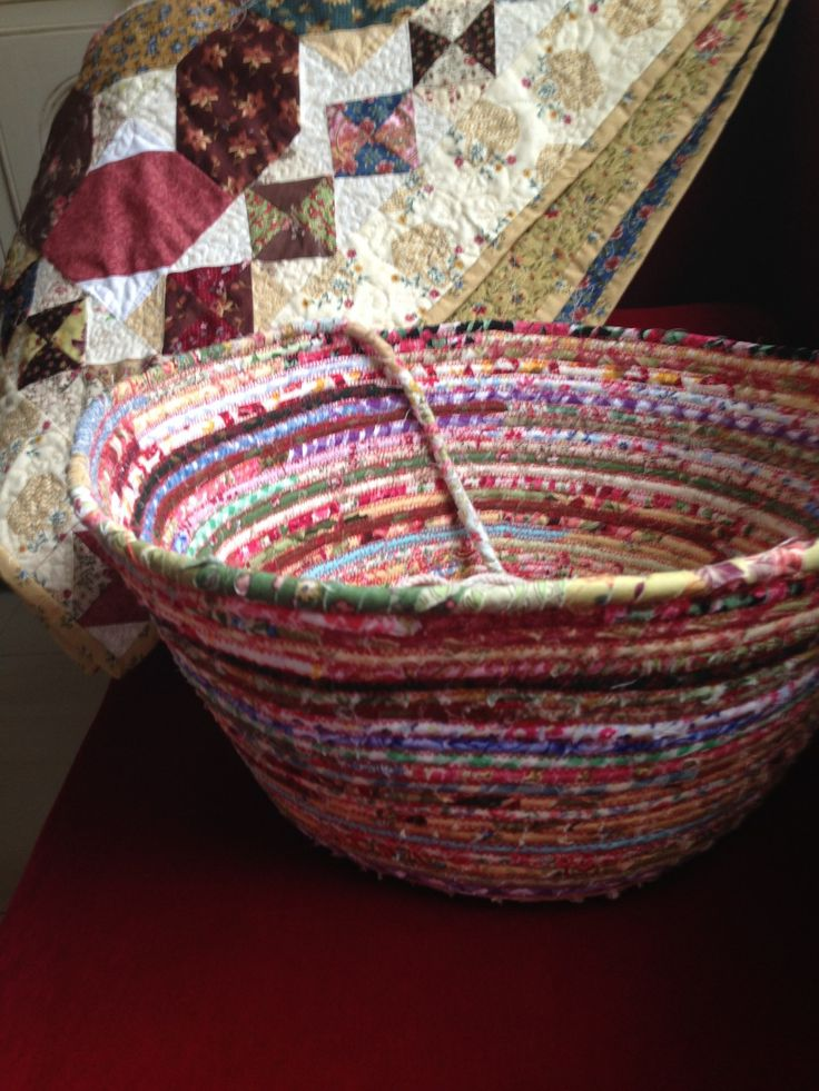 """End of Day"" Quilter's Basket.  You can make this project at home easily if you have a sewing machine which sews zig-zag stitch.  Set your ..."