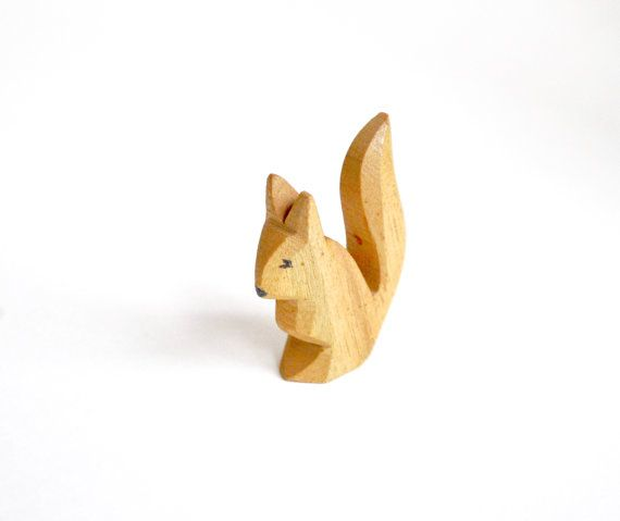 ostheimer squirrel wooden toy woodland animal by daisychainvintage