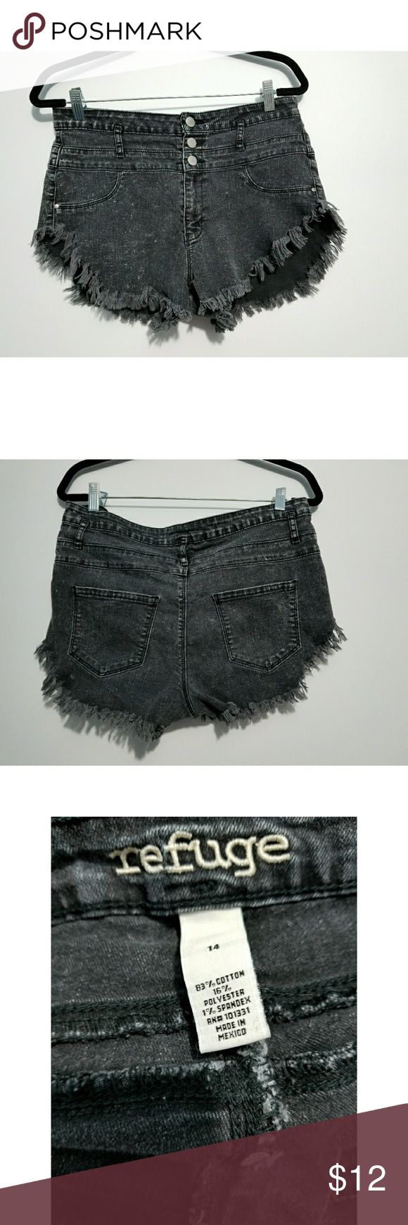 """REFUGE HIGH WAIST FRINGED HEMACID WASH SHORTS REFUGE HIGH WAIST FRINGED HEMACID WASH SHORTS   SIZE: 14  MATERIAL: 83% COTTON, 16% POLYESTER, 1% SPANDEX   APPROX. MEASUREMENTS (taken laying flat):  WAIST: 16"""" RISE: 11"""" INSEAM: 2""""  ***I inspect all my items for holes, tears and stains before listing. It will be noted in my listing if there are any flaws. Item is from a pet and smoke free home***  *** PLEASE LOOK THROUGH ALL THE PHOTOS BEFORE PURCHASING ITEM***  Thank you for looking…"""