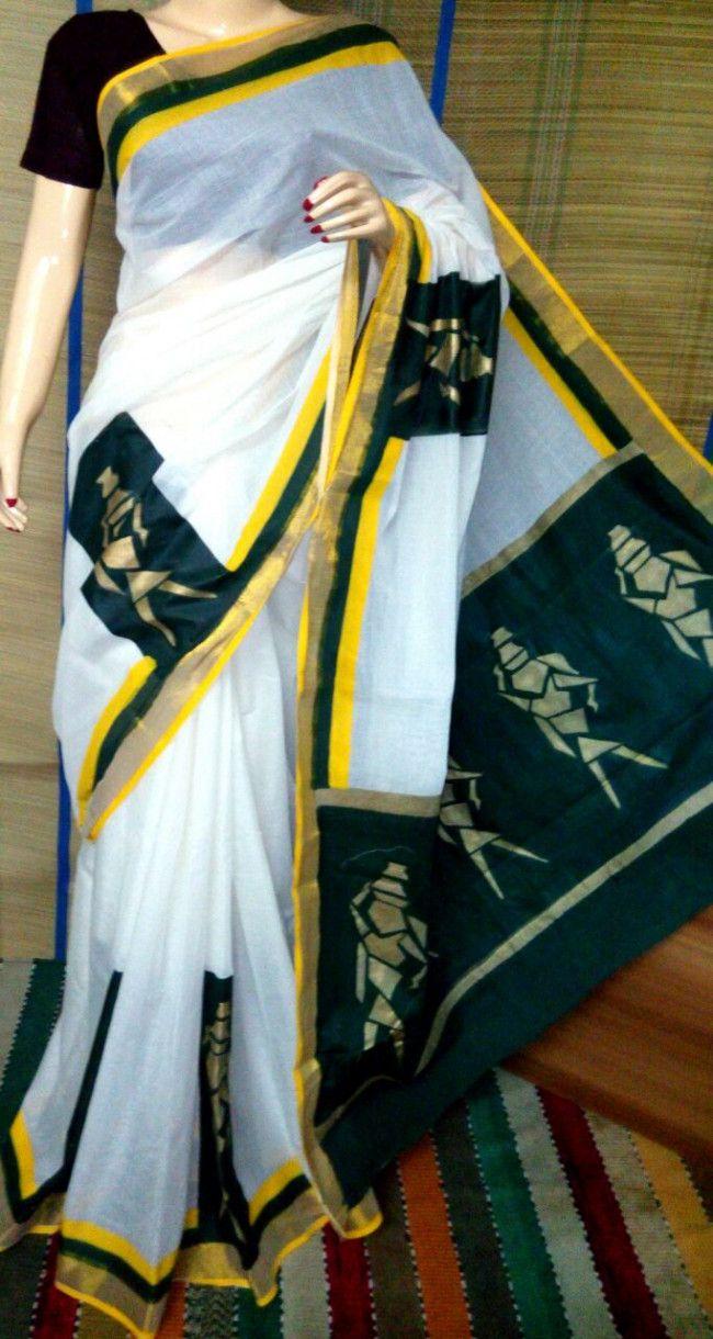 Pure Cotton Hand Painted Saree